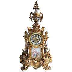 19th Century French Ormolu and Hand-Painted Porcelain Clock, circa 1880