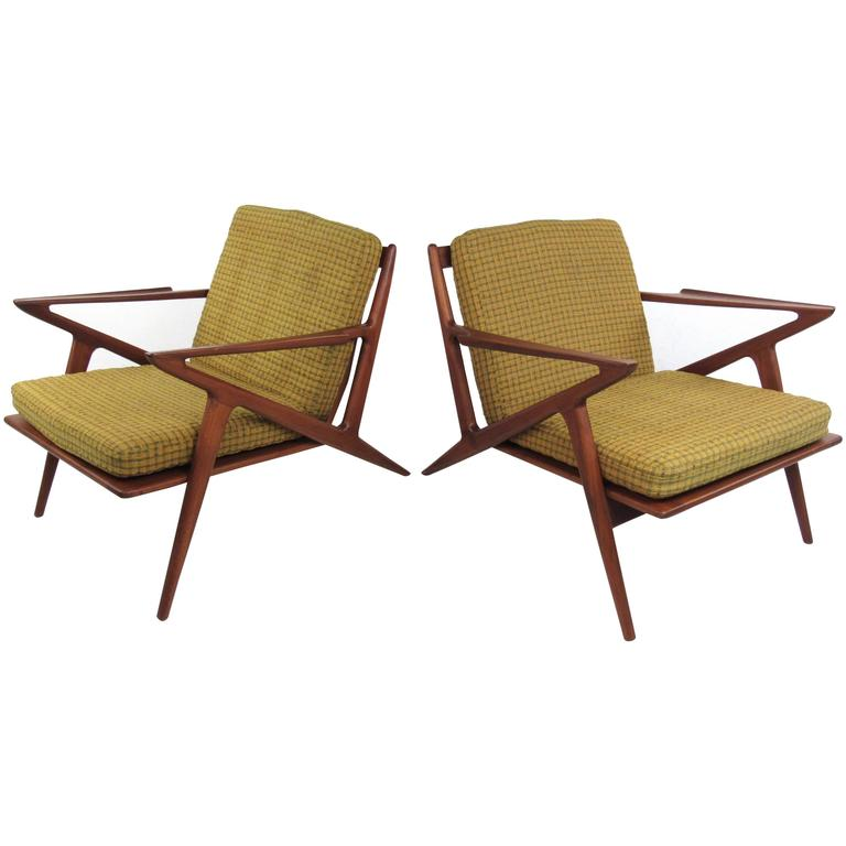 Pair of Poul Jensen Style Teak Lounge Chairs