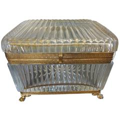 Large Antique French Crystal Box Attributed To Baccarat