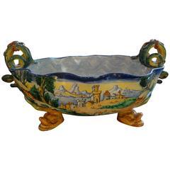 Antique Italian Hand-Painted Faience Majolica Bowl