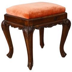 Italian Carved Walnut Stool with Apricot Velvet Upholstery