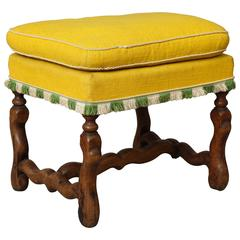Louis XIII French Walnut Stool with 'Os De Mouton' Legs and Stretcher