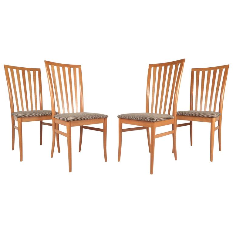 Set of contemporary modern highback maple dining chairs