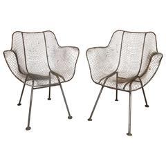 Pair of Mid-Century Sculptura Woodard Chairs
