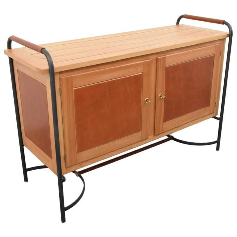 Rare Jacques Adnet Equestrian Style Leather, Ash and Iron Cabinet, 1950s, France