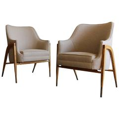 Rare Pair of Model # 5510 Armchairs by Edward Wormley for Dunbar
