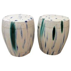 Pair of Chinese Ceramic Garden Seats with Blue and Green Tie-Dye Glaze