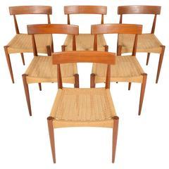 Set of Six Arne Hovmand Olsen for Mogens, Kold Teak and Paper Cord Dining Chairs