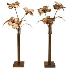 Pair of Lamps in Bronze and Nacre by Belgian Designer Willy Daro, 1970s