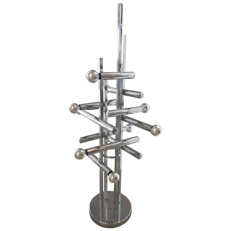 vintage italian geometric chrome floor or table lamp for