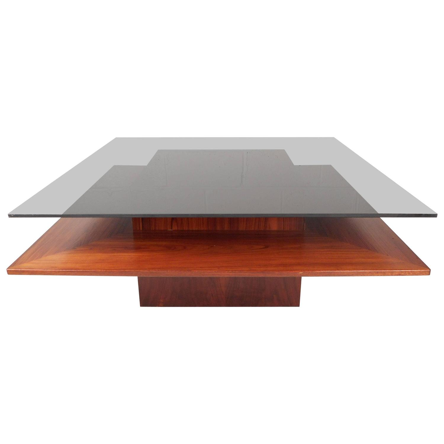 Stunning Teak And Chrome Contemporary Small Coffee Table: Mid-Century Modern Teak And Glass Two-Tier Coffee Table