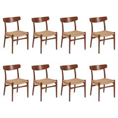 Set of Eight Hans Wegner Model CH-23 Dining Chairs