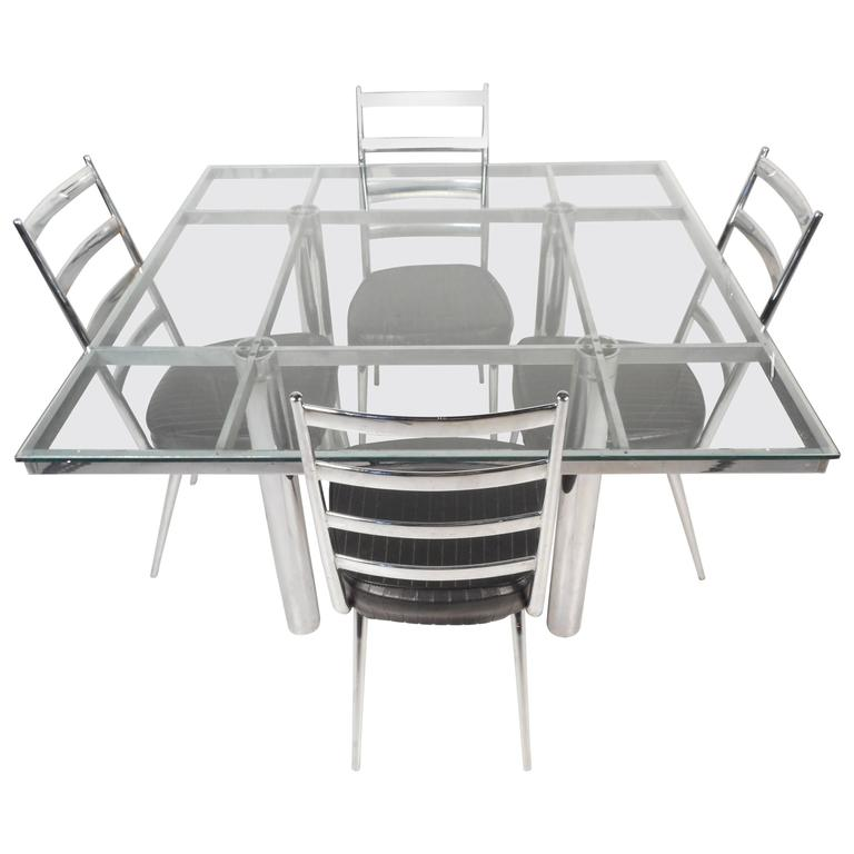Mid-Century Modern Chrome and Glass Dining Table