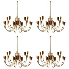 One Pair of 1970s Brass Chandeliers