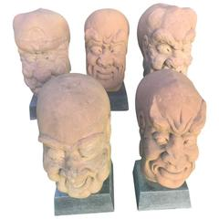 China Five Antique Monumental  Hand-Carved Stone Garden Monks 19c instant Set