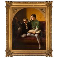 Mid-19th Century Romantic Period Portrait of Two Children, Oil on Canvas, Signed