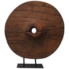 Late 19th Century Teak Ox Cart Wheel Sculpture, Southeast Asia