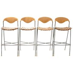 Set of 3 Wrought Iron Arthur Umanoff Bar Stools