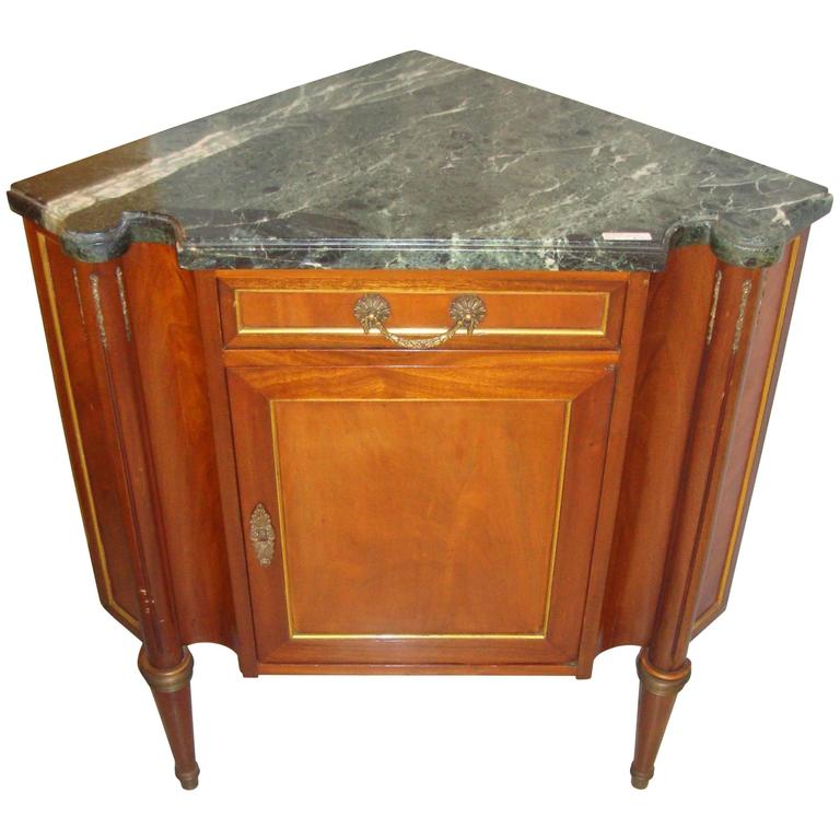 This antique french cherry side table is no longer available - Marble Top Corner Cabinet At 1stdibs