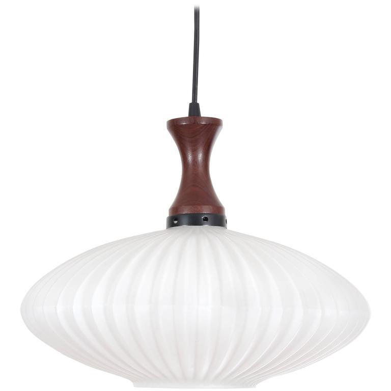 Mid-Century Modern Scandinavian Pendant Lamp in Teak and Opal