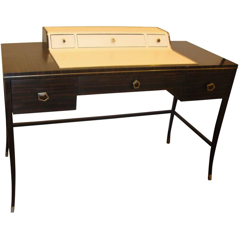 Jonathan Charles Hollywood Regency Leather and Macassar Writing Desk or Vanity