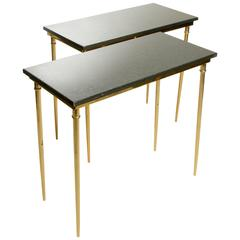 Matching Italian Brass and Green Black Marble Console, 1960