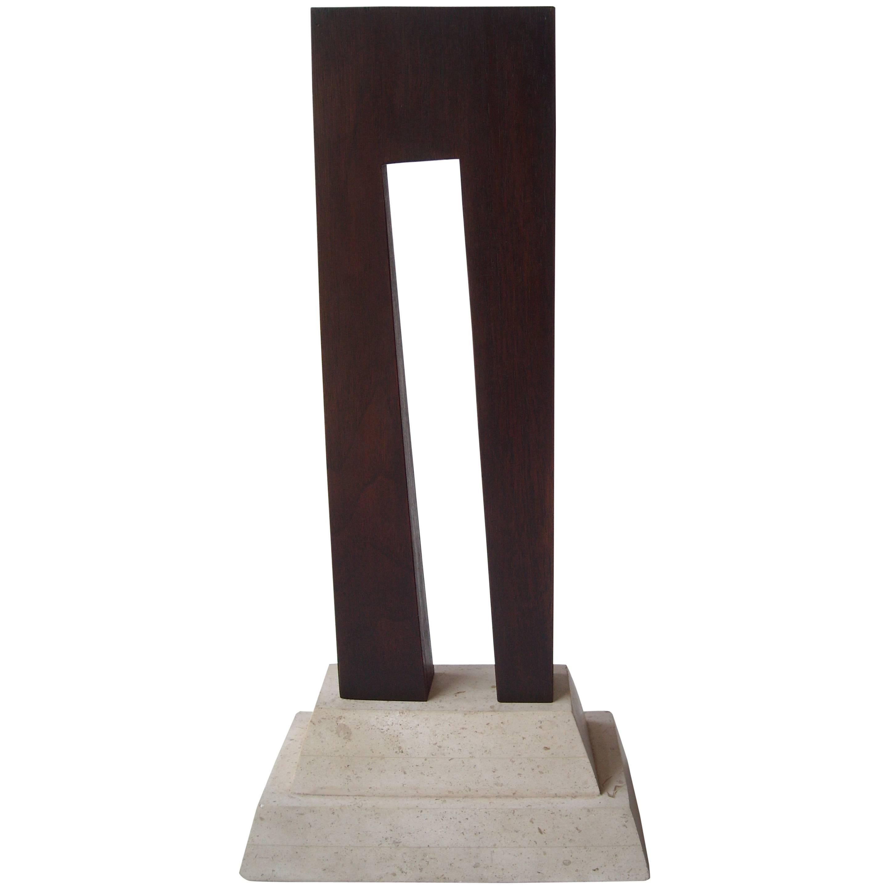 Guy Dill Wood Sculpture with Marble Base Signed and Dated