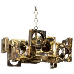 Cubist Style Brutalist Chandelier by Tom Greene for Feldman