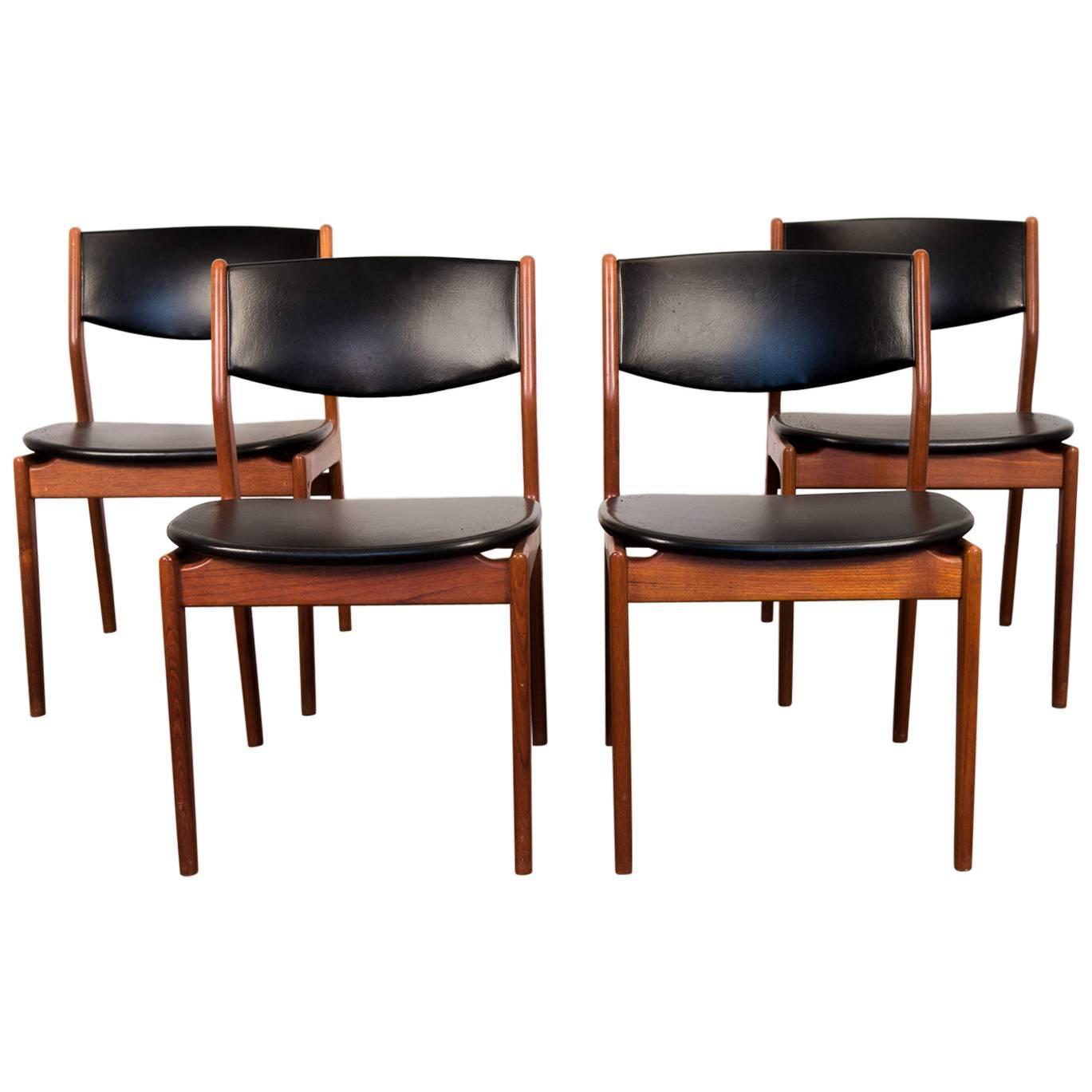 four scandinavian teak dining chairs at 1stdibs
