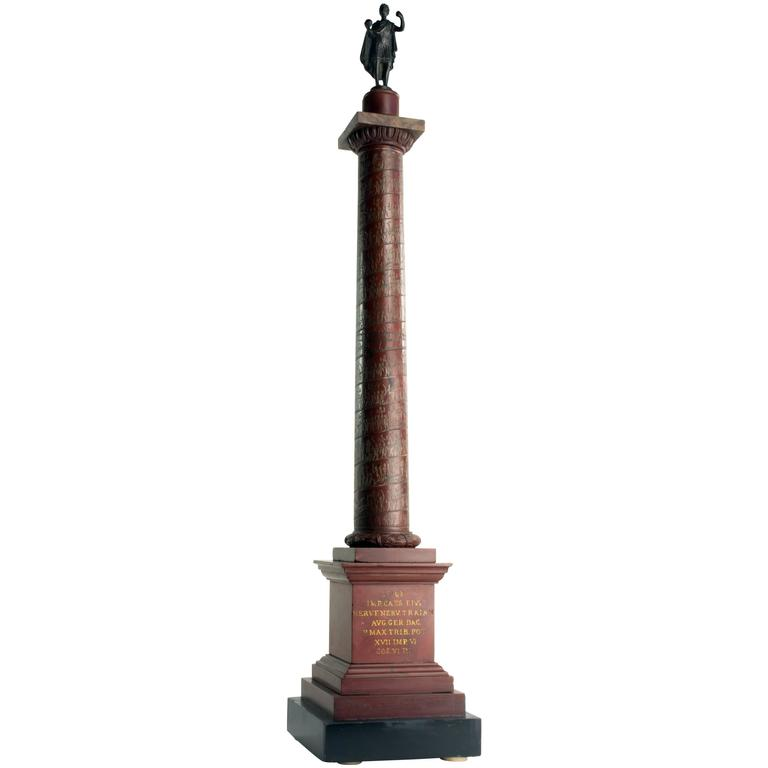 Large c. 1820  Rosso Antico Marble Model of Trajan's Column, Rome For Sale