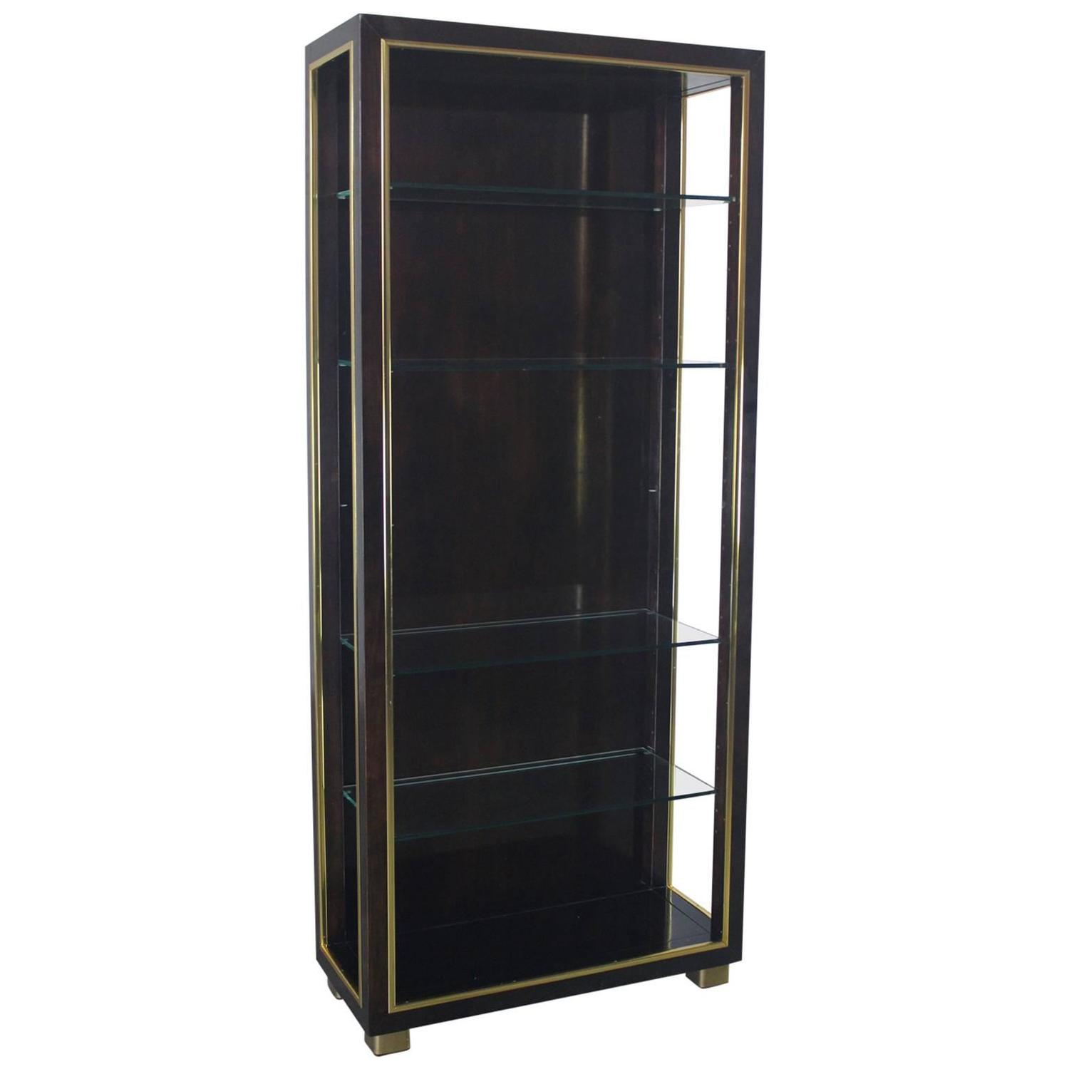 Vintage Dark Wood Etagere Bookcase With Brass Trim And