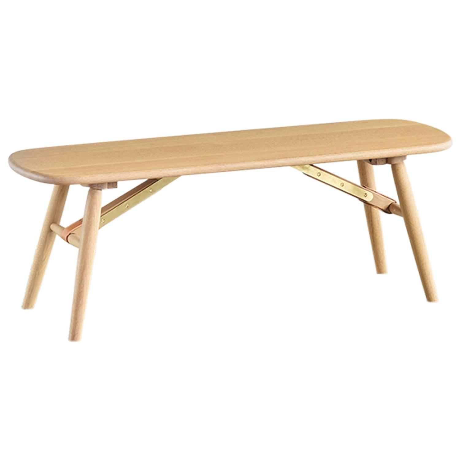 modern custom handcrafted oak bench from the nomad collection by