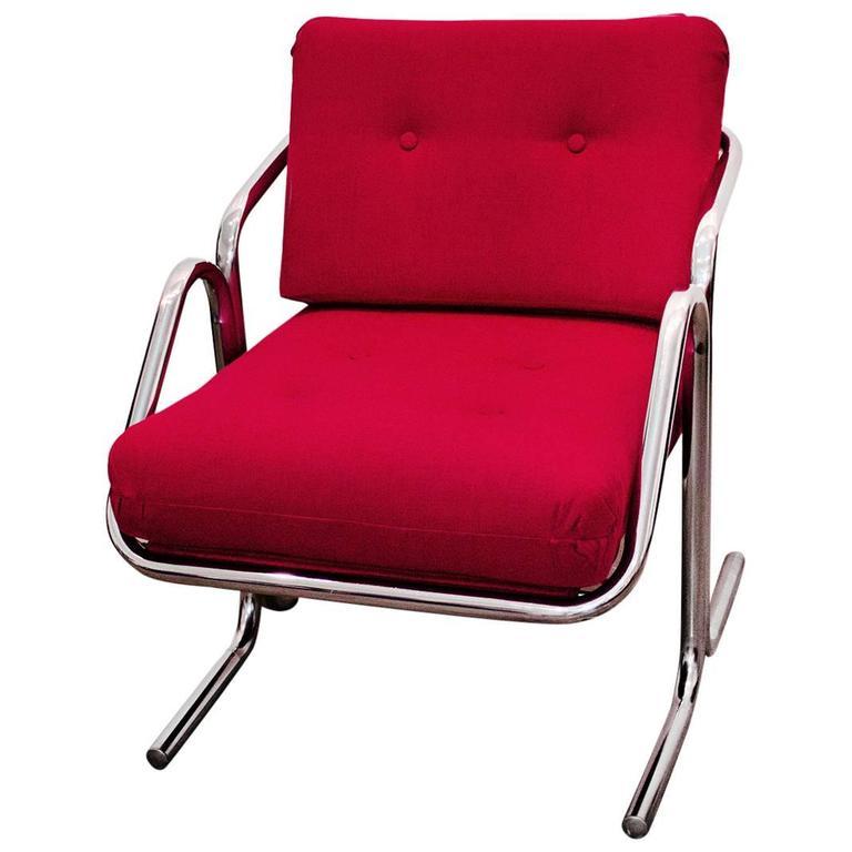 Jerry Johnson Arcadia Chrome Sling Chair 1970s At 1stdibs