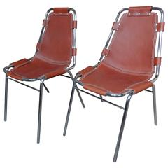 Selected by Charlotte Perriand for the Les Arcs Ski Resort, Two Leather Chairs