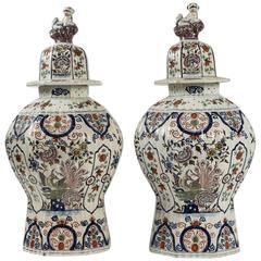 Netherlands 18th Century Fine, Large Peacock Delft Polychrome Vases, circa 1750