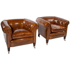 Quality Pair of Antique Leather Tub Armchairs