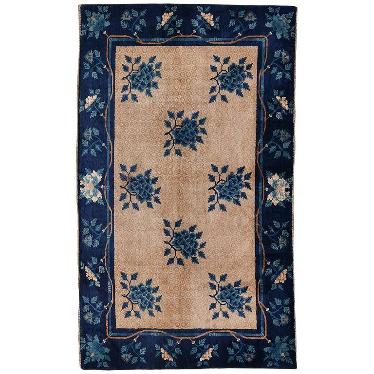 Chinese Art Deco Area Rug Bamboo Peony In Ivory And Indigo