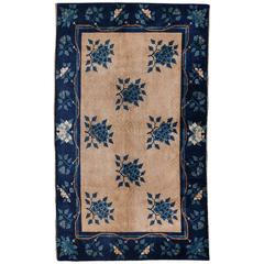 Chinese Art Deco Area Rug Bamboo Peony in Ivory and Indigo Blue
