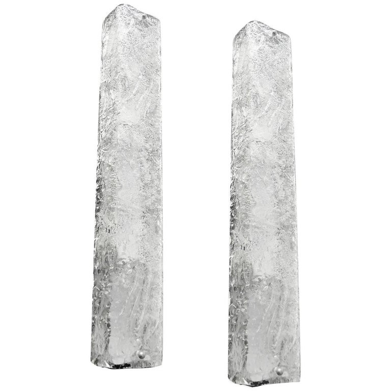 Pair Large Kalmar Murano Glass  Mirror Vanity Sconces