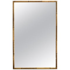 Hollywood Regency Giltwood Faux Bamboo Wall Mirror