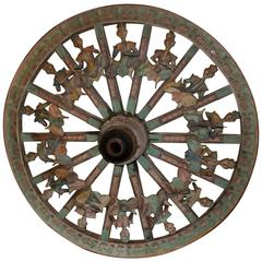 19th-20th Century Indonesian Parade or Carnival Cart Wheel with Musical Figures