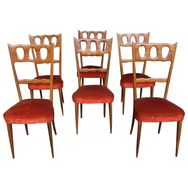 Set of Six Elegant Chairs by Paolo Buffa