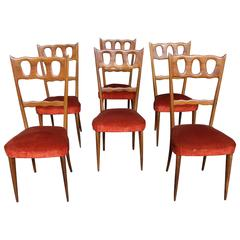 Paolo Buffa, Set of Six Elegant Walnut and Red Velvet Chairs