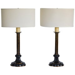 Pair of Hollywood Regency Candlestick Table Lamps
