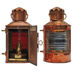 Pair of Nautical Copper Port and Starboard Navigation Lights