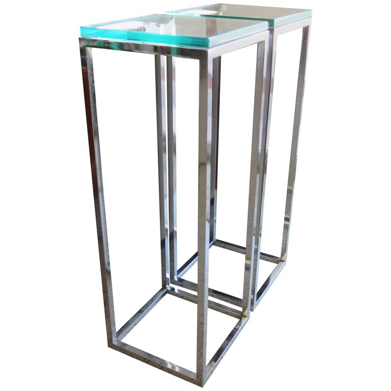 Pair Of Classic Tall Chrome Pedestal Tables 1