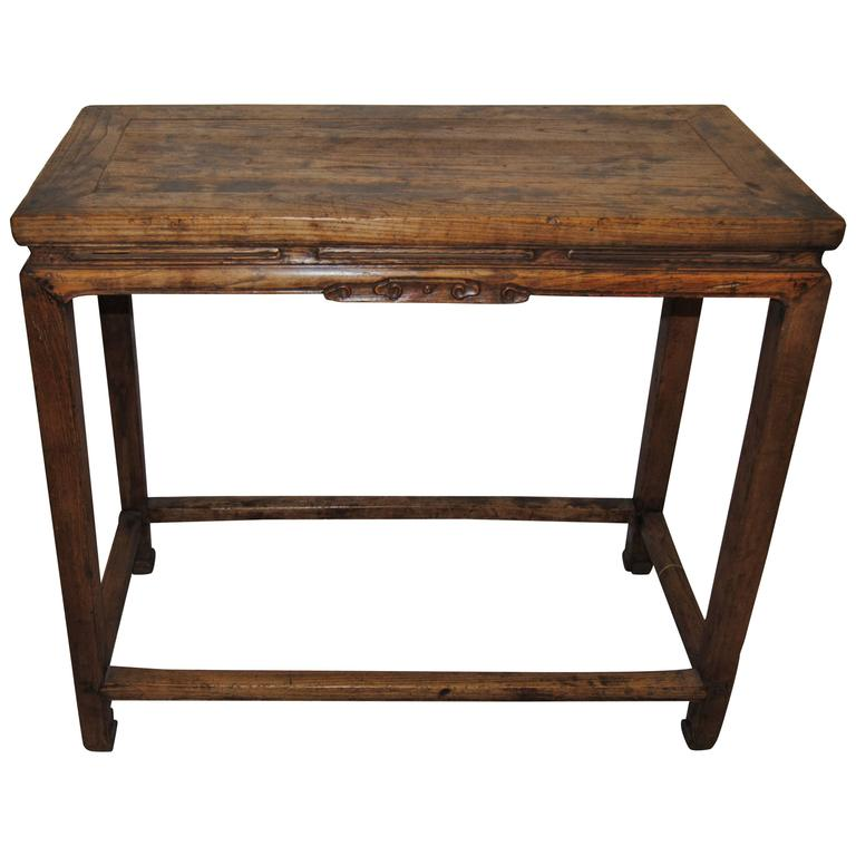 Antique hand carved chinese elmwood wine table early 19th for Antique chinese tables for sale