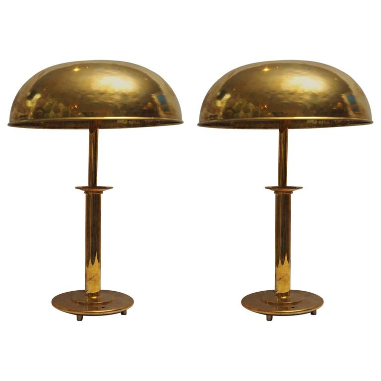 pair of mid century modern brass table lamps from ship 39 s stateroom for. Black Bedroom Furniture Sets. Home Design Ideas
