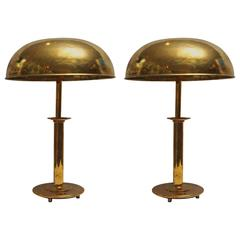 Pair of Mid-Century Modern Nautical Brass Table Lamps from Ship's Stateroom