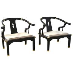 Pair of Hollywood Regency Asian Inspired Club Chairs